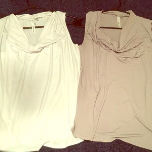 White and grey scoop neck tops